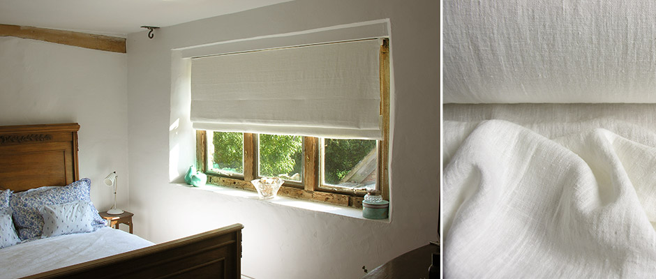 White Linen Bedroom Roman Blind