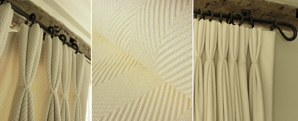 deeply textured cotton herringbone makes luxuriously thick snug curtains